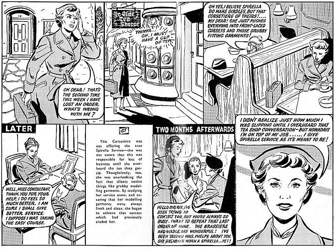 ae0c5c7b59 These cartoons from the Spirella Magazines of 1938 and 1956 reinforce the  moralistic element that was part and parcel of the Spirella ethic.